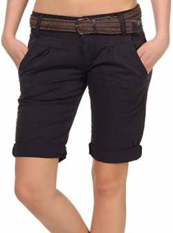 Fresh Made Damen Chino Shorts LFM-153/LFM-161 Bermuda mit Gürtel Dark Grey S von Fresh Made