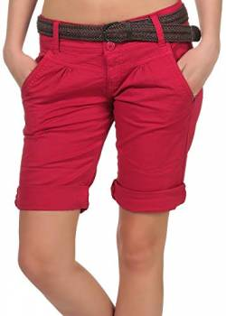Fresh Made Damen Chino Shorts LFM-153/LFM-161 Bermuda mit Gürtel Middle red S von Fresh Made