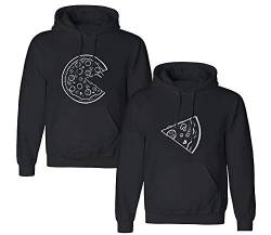 Friend Shirts Couple Hoodie Pizza Pärchen Kapuzenpullover Set Partner Look Pullover Paare Pulli Sweatshirt Schwarz Weiß Damen Baumwolle Geschenk 2 Stücke (schwarz-Herr-2XL+Dame-XL) von Friend Shirts