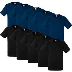 10 Fruit of the loom T Shirts Heavy Cotton M L XL XXL Diverse Farben auswählbar (3XL, 5Schwarz/5Navy) von Fruit of the Loom