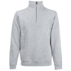 Classic Zip Neck Sweat - Farbe: Heather Grey - Größe: XXL von Fruit of the Loom