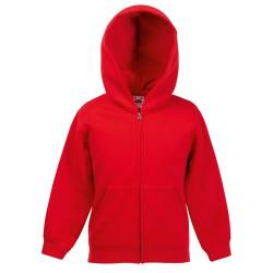 Classic Hooded Sweatjacke Kids - Farbe: Red - Größe: 116 (5-6) von Fruit of the Loom