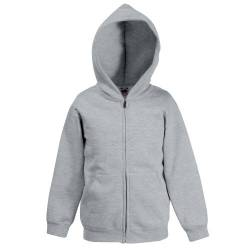 Classic Hooded Sweatjacke Kids - Farbe: Heather Grey - Größe: 128 (7-8) von Fruit of the Loom