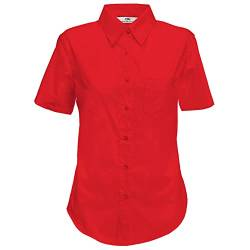 Fruit of the Loom Lady-Fit Poplin Bluse, Kurzarm (L) (Rot) von Fruit of the Loom