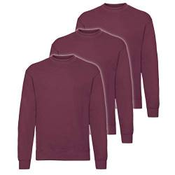 Fruit of the Loom 3er Pack Classic Set-In Sweat Herren, NEU, Größe:XL, Farbe:Burgund von Fruit of the Loom