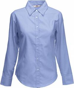 Fruit of the Loom Damen Hemd Oxford Shirt LS Lady-Fit, Blau Blue 326, Large von Fruit of the Loom