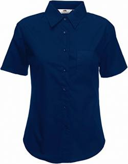 Fruit of the Loom Damen Popelin Shirt Lady-Fit Hemd, Blau (Navy 200), Small von Fruit of the Loom