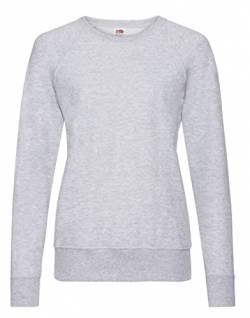 Fruit of the Loom Damen Lightweight Raglan Sweat Lady-Fit T-Shirt, Grau (Heather Grey 94), 38(Hersteller Größe: Medium) von Fruit of the Loom