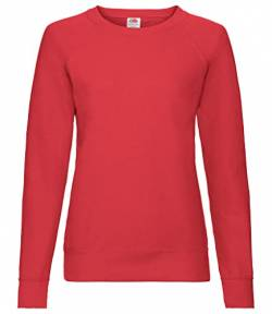 Fruit of the Loom Damen Lightweight Raglan Sweat Lady-Fit T-Shirt, Rot (Red 40), 34(Hersteller Größe: X-Small) von Fruit of the Loom