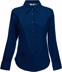 Fruit of the Loom Damen Oxford Shirt LS Lady-Fit Hemd, Blau (Navy 200), Large von Fruit of the Loom