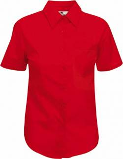 Fruit of the Loom Damen Popelin Shirt Lady-Fit Hemd, Rot (Red 400), Small von Fruit of the Loom