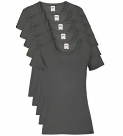 Fruit of the Loom Damen Regular Fit T-Shirt, 5er Pack, Grau (Light Graphite), 40 EU (Herstellergröße: M) von Fruit of the Loom