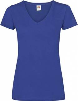 Fruit of the Loom Damen T-Shirt Valueweight V-Neck T Lady-Fit Blau (Royal Blue 300) XX-Large von Fruit of the Loom