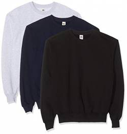 Fruit of the Loom Herren Classic Set In Sweat, 3 Pack Sweatshirt, Mehrfarbig (Black/Heather Grey/Deep Navy 26), XX-Large (Herstellergröße: 2XL) (3er Pack) von Fruit of the Loom