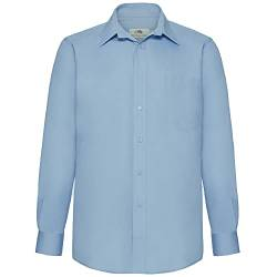 Fruit of the Loom Herren Long Sleeve Poplin Shirt Freizeithemd, Blau (Mid Blue), Large von Fruit of the Loom