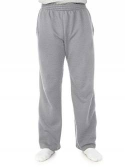 Fruit of the Loom Herren Fleece Pocketed Open-Bottom Sweatpant Jogginghose, Hellgrau (Light Grey Heather), Groß von Fruit of the Loom