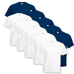 Fruit of the Loom Herren T-Shirt Valueweight, 10er Pack, Weiss/Navy, X-Large von Fruit of the Loom