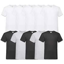 Fruit of the Loom Herren V-Neck Valueweight T-Shirt (erPack 10 (L, 5Weiss3Schwarz2Grau) von Fruit of the Loom
