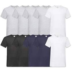 Fruit of the Loom Herren V-Neck Valueweight T-Shirt (erPack 10 (M, 4Grau2Weiss2Schwarz2Navy) von Fruit of the Loom