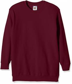 Fruit of the Loom Jungen Regular Fit Sweatshirt SS027B, Rot (Burgunderrot), 7/8 Jahre (Herstellergröße: 128cm) von Fruit of the Loom