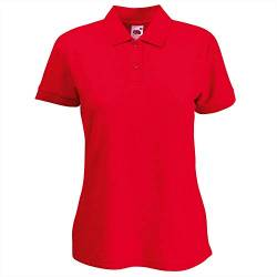 Fruite of the Loom Damen Lady-Fit 65/35 Pique Polo Shirt, vers.Farben S,Rot von Fruit of the Loom