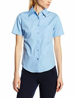 Fruite of the Loom Damen Lady Fit Poplin Kurzarm Bluse, vers.Farben S,Mittelblau von Fruit of the Loom