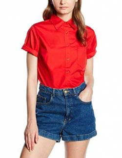 Fruite of the Loom Damen Lady Fit Poplin Kurzarm Bluse, vers.Farben S,Rot von Fruit of the Loom