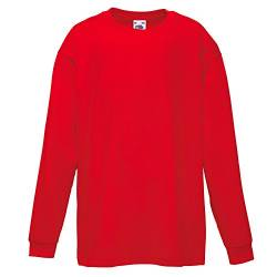 Fruit of the Loom Kinder Valueweight Langarmshirt, Rot, Gr.116 von Fruit of the Loom