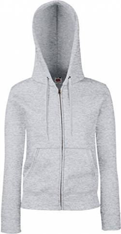 Premium Hooded Sweatjacke Lady-Fit - Farbe: Heather Grey - Größe: L von Fruit of the Loom