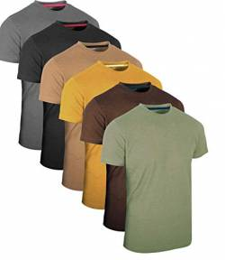 FULL TIME SPORTS® FTS-634 6 Pack Vintage Assorted Round Neck Tech T-Shirts (13), Medium von FULL TIME SPORTS