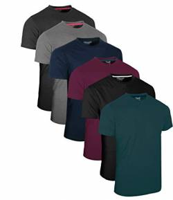 FULL TIME SPORTS® Tech 3 4 6 Pack Assorted Langarm-, Kurzarm Casual Top Multi Pack Rundhals T-Shirts (XX-Large, 6 Pack - Dark Assorted) von FULL TIME SPORTS