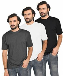 FULL TIME SPORTS 3 Packs Long & Tall Tee Shirt Bk-Wh-Ch Combo # 2 - Medium von FULL TIME SPORTS