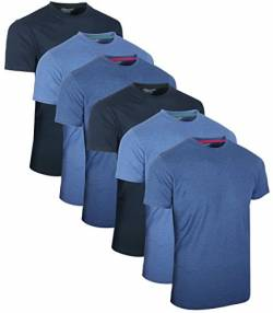 FULL TIME SPORTS 6 Pack Blau Sortiert Rundhals Tech T-Shirts (8) Medium von FULL TIME SPORTS