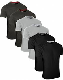 FULL TIME SPORTS 6 Pack Dunkelgrauer Schwarzer Rundhals Tech T-Shirts (7) XX-Large von FULL TIME SPORTS