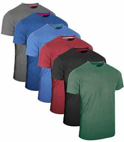 FULL TIME SPORTS 6 Pack Melange Sortiert Rundhals Tech T-Shirts (6) Medium von FULL TIME SPORTS