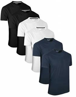 FULL TIME SPORTS 6 Pack Navy Weiß Schwarz Rundhals Tech T-Shirts (4) XX-Large von FULL TIME SPORTS