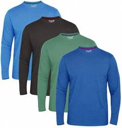 FULL TIME SPORTS® Tech 3 4 6 Pack Assorted Langarm-, Kurzarm Casual Top Multi Pack Rundhals T-Shirts (XXX-Large, 4 Pack - Long Sleeve blau Holzkohle Grün) von FULL TIME SPORTS
