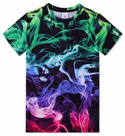 Funnycokid Kinder Mädchen Casual T-Shirt Roud Neck Kurzarm Cool Smoking Graphic O-Neck Top T-Shirt 10-12 Jahre von Funnycokid