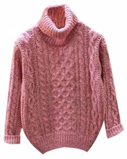 Fuxiang Grobstrick Pullover Damen Hoher Kragenpullover Zopfpullover Rollkragenpullover Grob Strick Pullis Edle Frauen Pullover Mantel Strickpullover Winter Herbst Rosa von Fuxiang