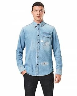G-STAR RAW Mens Bristum Flap Button Down Slim Shirt, Sun Faded Oregon Blue Restored C437-B905, L von G-STAR RAW