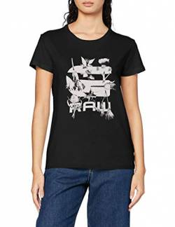 G-STAR RAW Womens Logo Thistle Graphic Gyre Straight T-Shirt, dk Black 336-6484, XS von G-STAR RAW