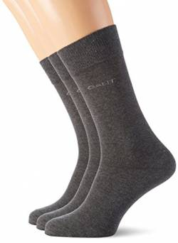 GANT Herren 3-Pack Soft Cotton Socken, Grau (Charcoal Melange 90), One Size (3er Pack) von GANT