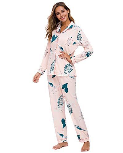 GOSO Damen Schlafanzug Pyjama Set Loungewear Langarm Top und Hose Nachtw/äsche Lady Pyja-Set Jogging-Stil Nachtw/äsche