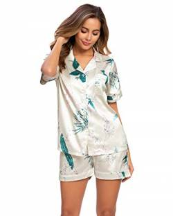 GOSO Damen Schlafanzug Pyjamas Set-Satin Pyjama Damen Button Down Pjs Floral Kurz Top und Shorts Nachtwäsche Lady Nightwear Soft Lounge Sets von GOSO