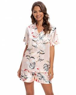 GOSO Damen Schlafanzug Pyjamas Set-Satin Pyjama Damen Button Down Pjs Kurz Top und Shorts Nachtwäsche Lady Nightwear Soft Lounge Sets von GOSO