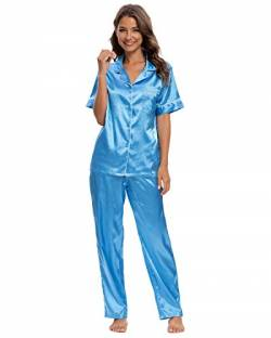 GOSO Damen Schlafanzug Pyjamas Set-Satin Pyjama Damen Button Down Pjs Kurzarm Top und Hosen Nachtwäsche Lady Nightwear Soft Lounge Sets von GOSO