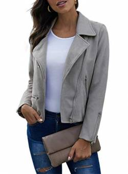 GOSOPIN Damen Kunstleder Jacke Klassische Moto Bikerjacke mit Reißverschluss elegant Kurzjacke Retro Faux Leather Übergangsjacke Light Grey L von GOSOPIN