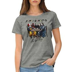 Friends Horror Movies Inspired by Stephen King Characters Anime Damen Grau T-Shirt Size M von GR8Shop