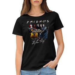 Friends Horror Movies Inspired by Stephen King Characters Anime Damen Schwarz T-Shirt Size L von GR8Shop