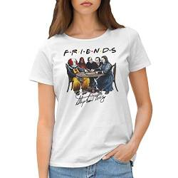 Friends Horror Movies Inspired by Stephen King Characters Anime Damen Weißes T-Shirt Size M von GR8Shop
